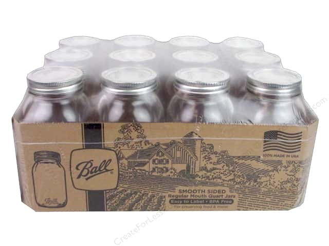 Ball Jar Quart Regular Mouth Smooth Sided 12pc