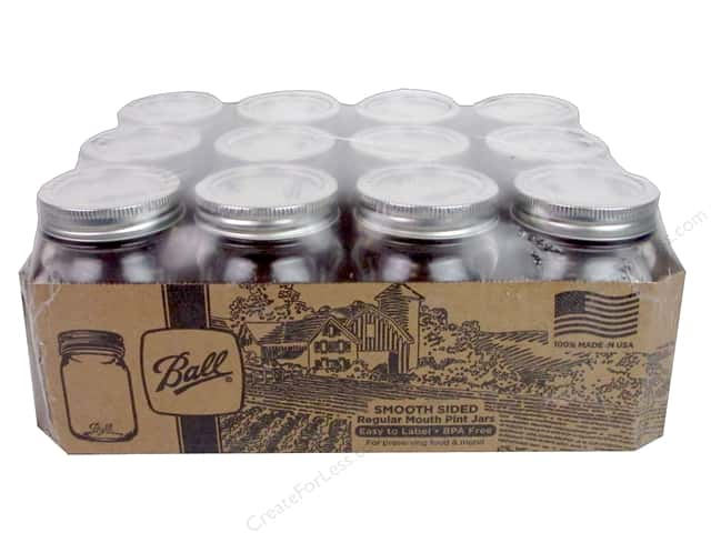 Ball Jar Pint Regular Mouth Smooth Sided 12pc