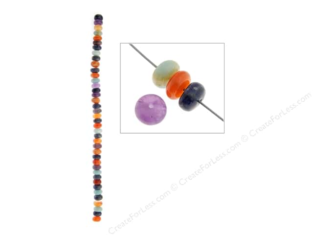 John Bead Semi Precious Bead 8 in. Mixed 8 mm Rondelle