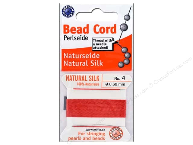 Beadalon Cord 100% Silk Size 4 Red 2 M