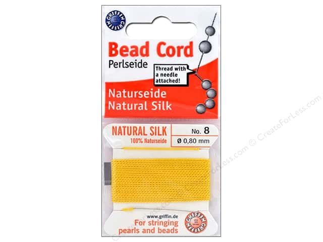Beadalon Cord 100% Silk Size 8 Yellow 2 M