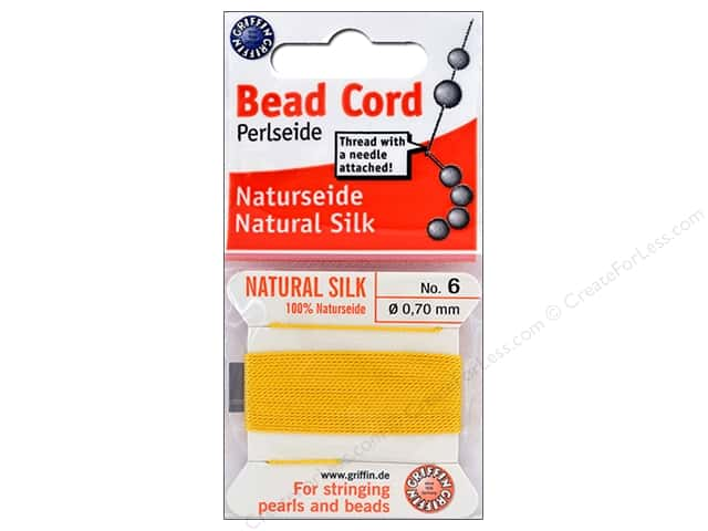 Beadalon Cord 100% Silk Size 6 Yellow 2 M