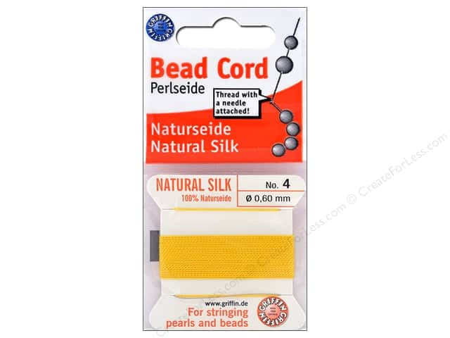 Beadalon Cord 100% Silk Size 4 Yellow 2 M