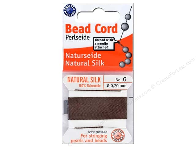 Beadalon Cord 100% Silk Size 6 Brown 2M