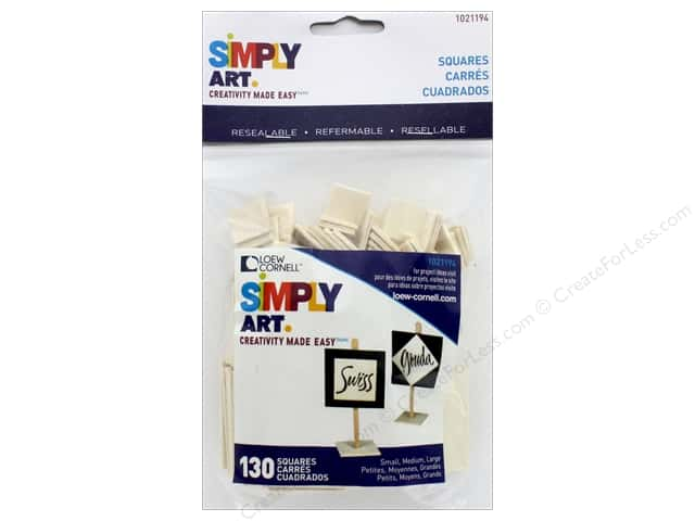 Loew Cornell Simply Art Wood Shapes Squares 130 pc.