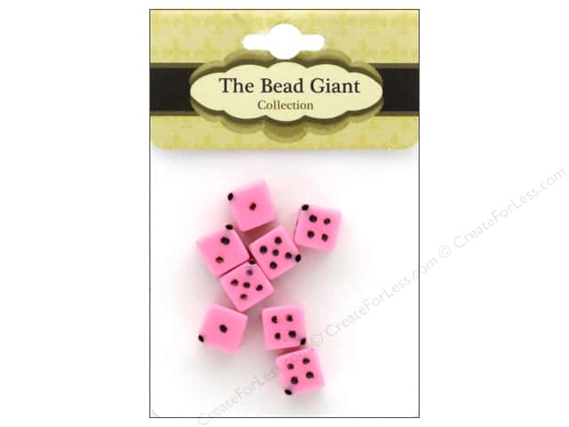The Bead Giant Bead Dice OP 8mm Pink 8pc