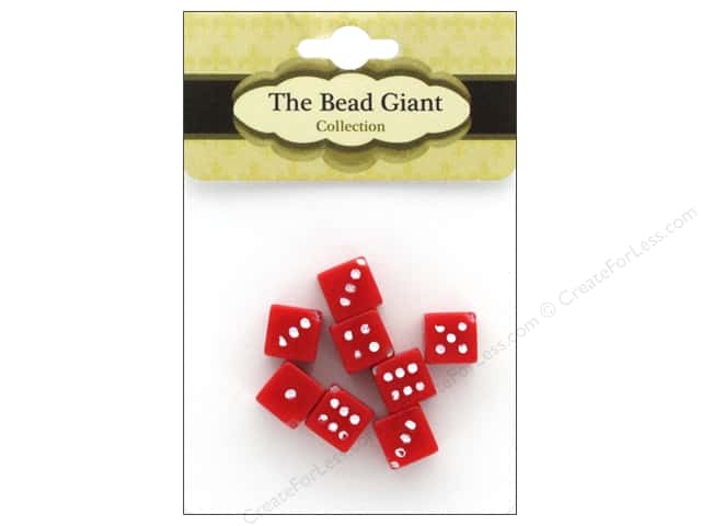 The Bead Giant Bead Dice OP 8mm Red 8pc