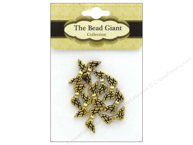 The Bead Giant Bead Angel Wing 20 mm Gold 10 pc