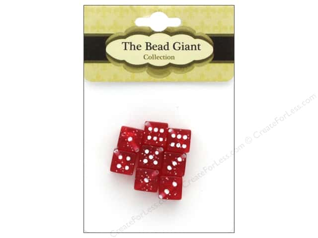 The Bead Giant Bead Dice Glitter 8mm Red 8pc