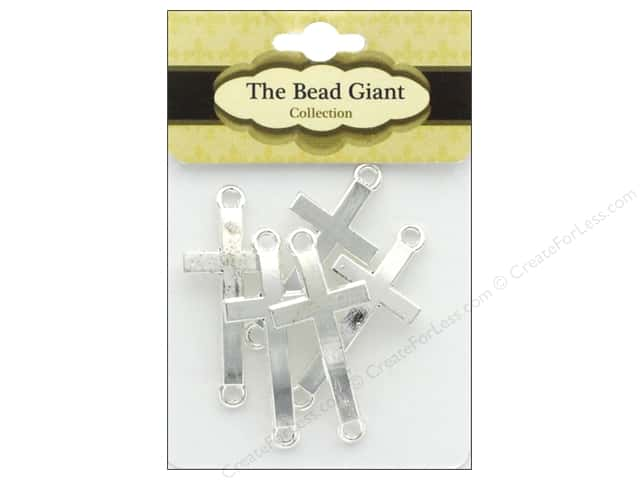 The Bead Giant Bead Cross Medium Silver 5pc
