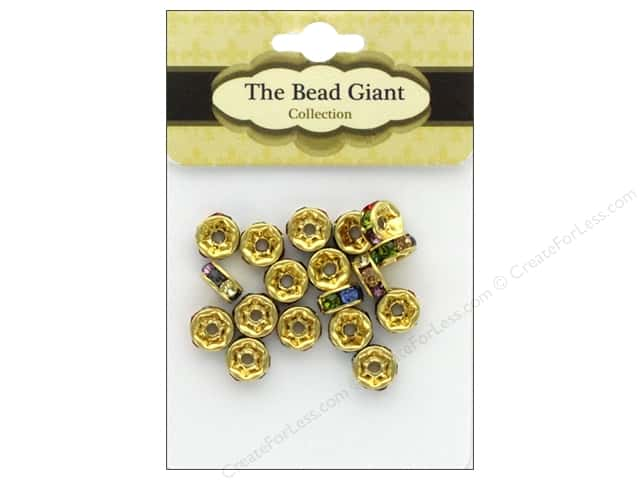 The Bead Giant Bead Disc Rhinestone 7mm Gold/Multi 18pc