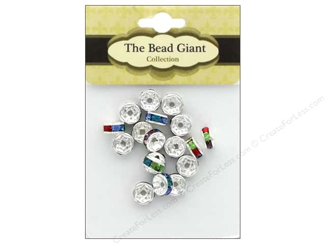 The Bead Giant Bead Disc Rhinestone 7mm Silver/Multi 18pc