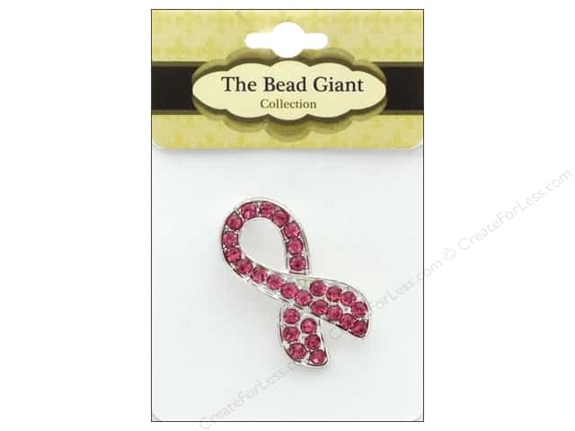 The Bead Giant Bead Ribbon Rhinestone Silver/Pink 18pc