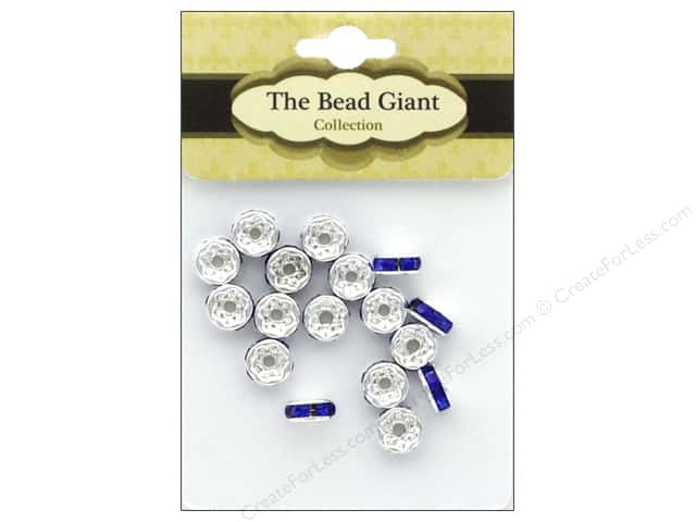 The Bead Giant Bead Disc Rhinestone 7mm Blue 18pc
