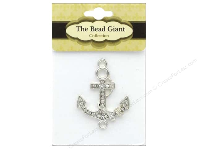 The Bead Giant Bead Anchor Rhinestone Silver 1pc