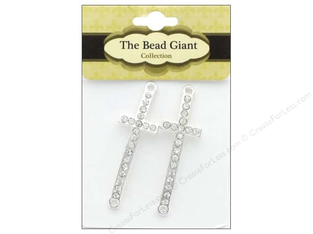The Bead Giant Bead Cross Slim Silver 2pc