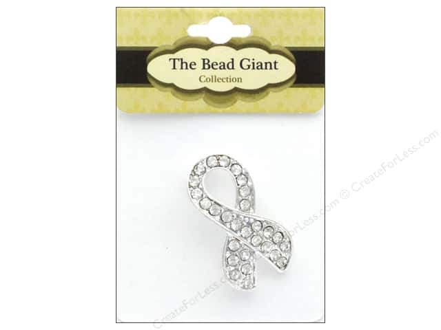 The Bead Giant Jewelry Bead Rhinestone Ribbon Silver/Crystal