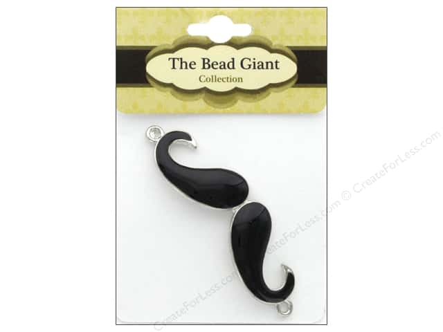 The Bead Giant Jewelry Bead Enamel Mustache