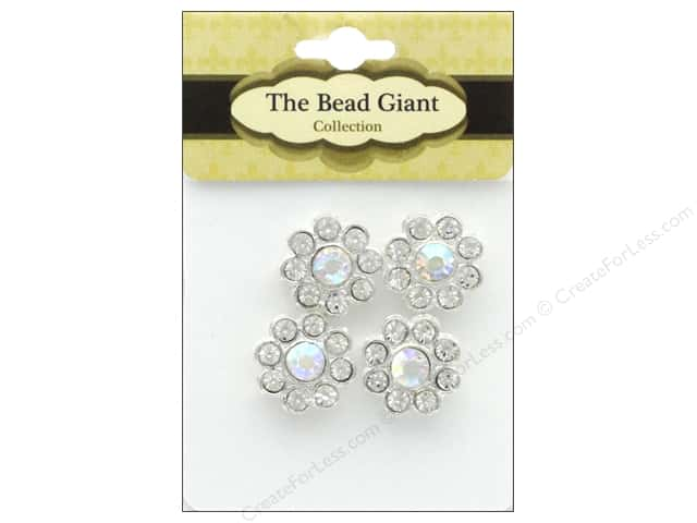 The Bead Giant Bead Spacer Daisy Silver 4pc