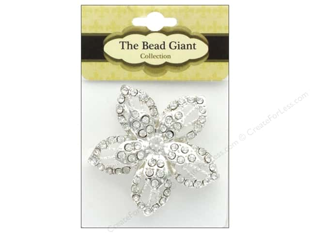 The Bead Giant Jewelry Bead Flower 1 Silver/Crystal