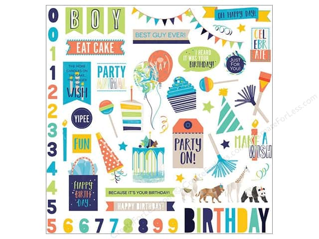 "Photo Play Collection CAKE Party Animal Sticker Element 12""x 12"" (12 pieces)"