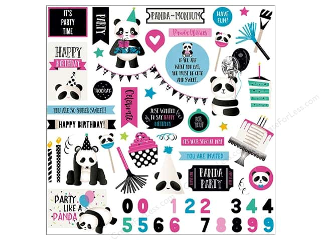 "Photo Play Collection CAKE Panda Party Sticker Element 12""x 12"" (12 pieces)"