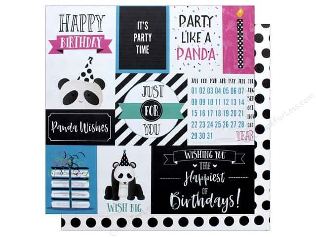 "Photo Play Collection CAKE Panda Party Paper 12""x 12"" Panda Wishes (25 pieces)"