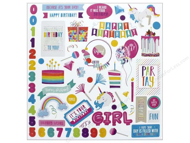 """Photo Play Collection CAKE Rainbow Sprinkles Sticker Element 12""""x 12"""" (12 pieces)"""