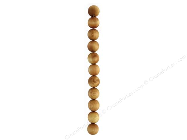 "John Bead Wood Bead 8"" Cedar Round 18mm Natural"