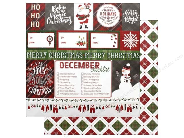 "Photo Play Collection Mad 4 Plaid Christmas Paper 12""x 12"" Ho Ho Ho (25 pieces)"