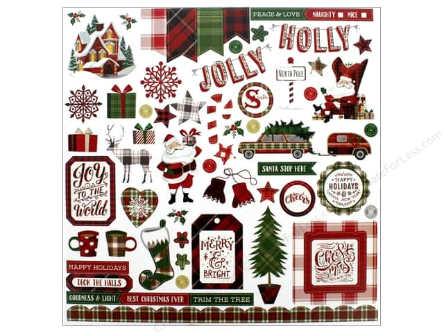 """Photo Play Collection Mad 4 Plaid Christmas Sticker Element 12""""x 12"""" (12 pieces)"""