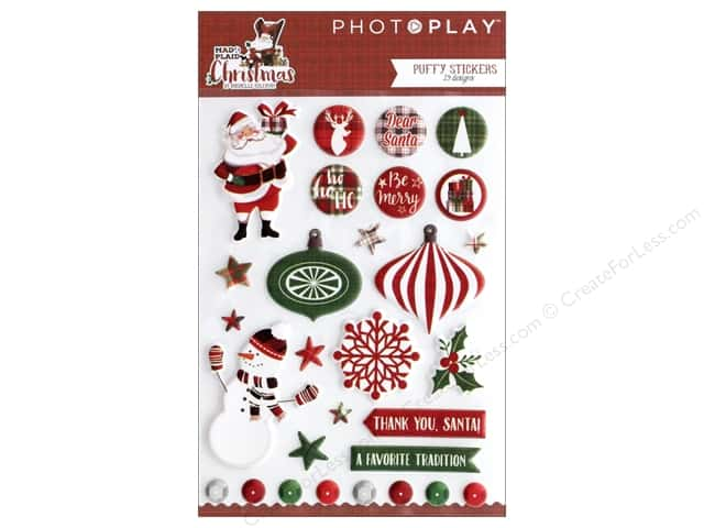 Photo Play Collection Mad 4 Plaid Christmas Sticker Puffy
