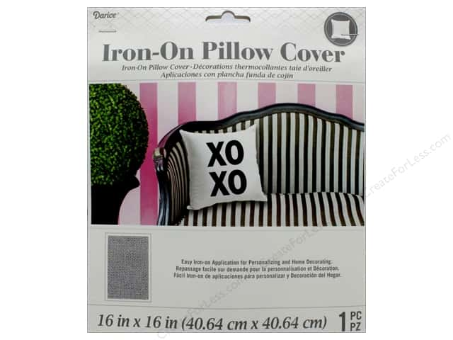 Darice Iron On Pillow Cover Zip 16 in. x 16 in. Grey