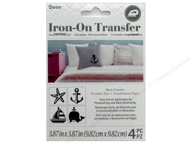Darice Iron On Transfer Nautical Black 4pc