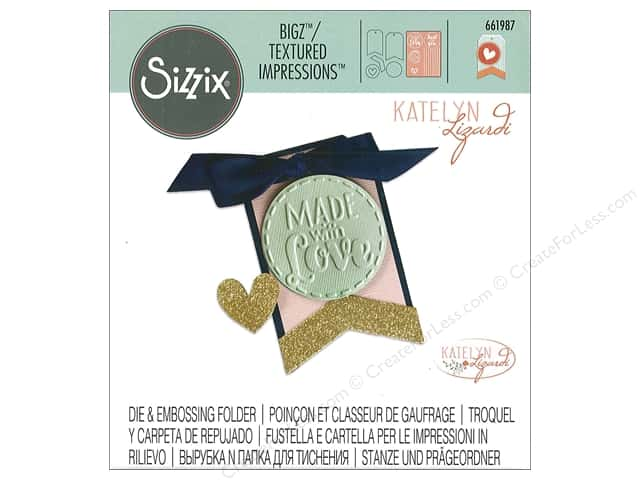 Sizzix Die & Emboss Folder Katelyn Lizardi Bigz/Textured Impressions Tag Made With Love