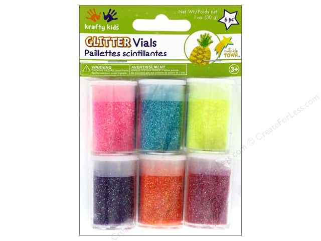 Multicraft Krafty Kids Twinkle Town Glitter Vials Neon Assortment