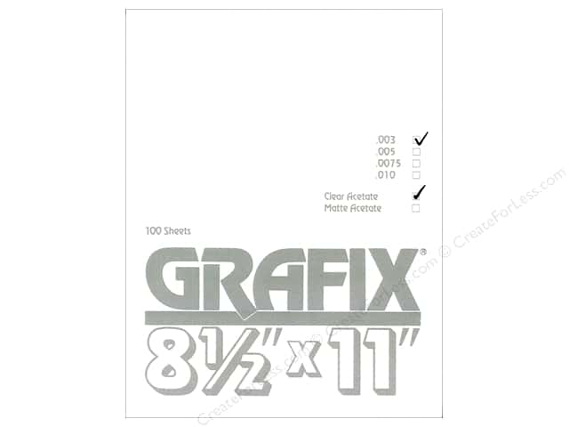 "Grafix Acetate Sheet .003"" 8.5""x 11"" Clear Bulk (100 sheets)"
