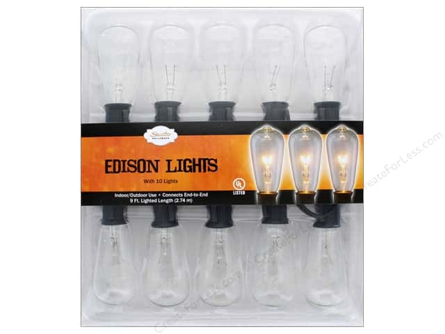 Sierra Pacific Crafts Lights Edison 10ct Clear Bulb/Black Cord