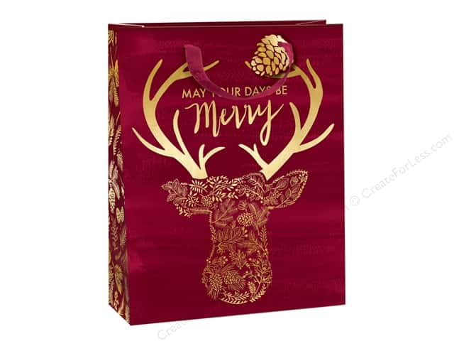 Lady Jayne Gift Bag Winter Luxe Large Stag Head Burgundy