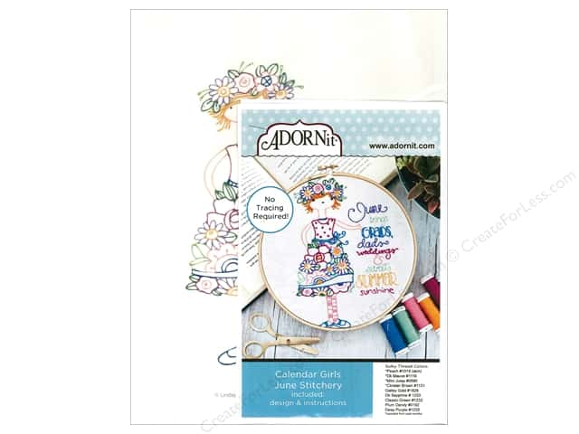 Adornit Artplay Fabric Monthly Stitchery Calendar Girls June