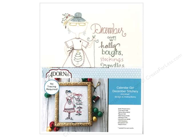 Adornit Artplay Fabric Monthly Stitchery Calendar Girls December