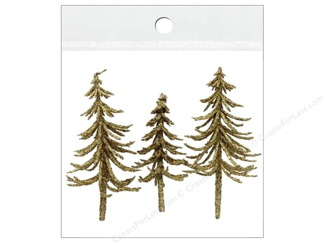 Sierra Pacific Crafts Decor Filler Trees With Gold Glitter 3 pc Gold
