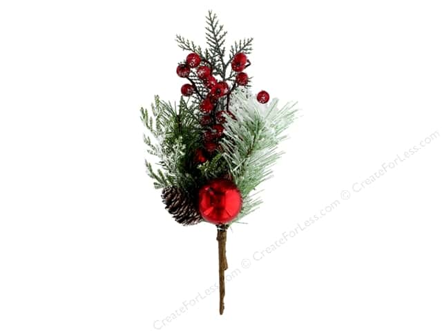 Sierra Pacific Crafts Decor Pick Spruce & Pine With Glitter & Red Balls 14 in.