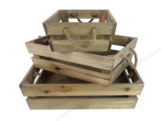 Sierra Pacific Crafts Wood Crate With Rope Set of 3 Natural