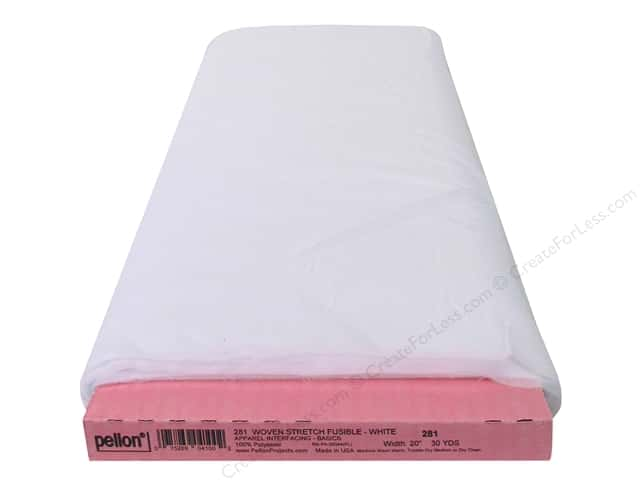 "Woven Stretch Fusible 20""x 30yd White (30 yards)"