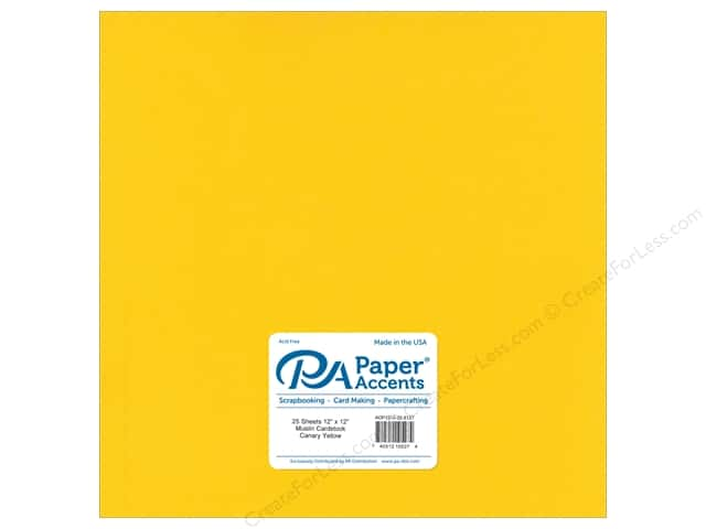 Paper Accents Cardstock 12 x 12 in. #8127 Muslin Canary Yellow (25 sheets)