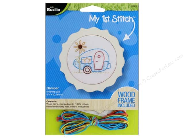 Bucilla Stamped Embroidery Kit 4 in. Camper