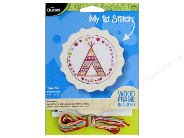 Bucilla Stamped Embroidery Kit 4 in. Tee Pee