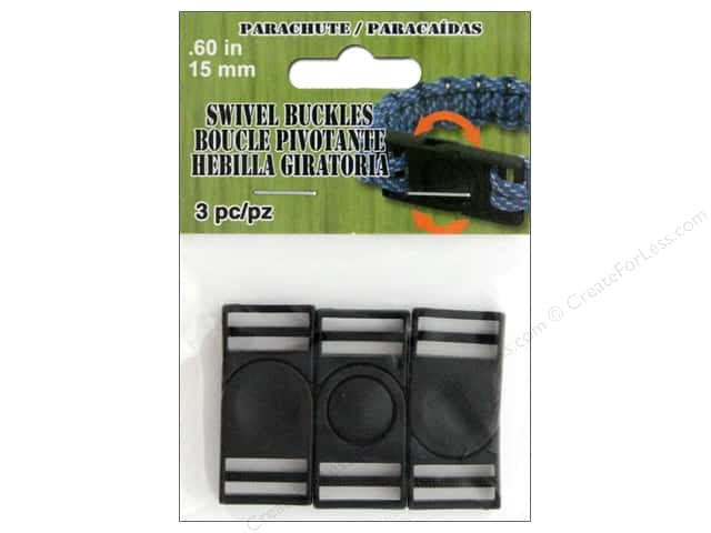 Pepperell Parachute Cord Buckle Swivel 15 mm Black 3 pc