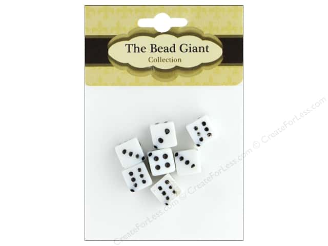 The Bead Giant Bead Dice Opaque 8mm White 8pc